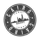Kairo Egypten Afrika rundar turism för loppet för vektorn för stämpeln för designen för knappstadshorisont vektor illustrationer