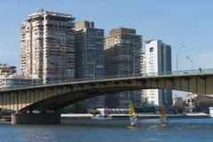 Kairo Egypten Februari 11 2012: Surfare på flodNilen i mitt av Kairo Royaltyfria Bilder