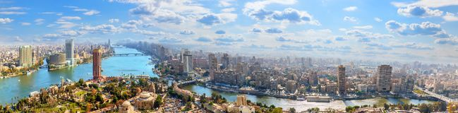 Kairocentrum på banken av Nilen, flyg- panorama arkivfoto