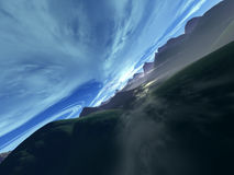 Kairos Prime. Digital created scenery simulating a flight between two cloud layers stock illustration
