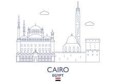 Kairostadshorisont, Egypten stock illustrationer