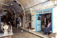 Old shops in the Traditional Market in the Medina in Kairouan royalty free stock photo