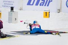 Kaisa MAKARAINEN (FIN) on a firing line at Biathlon Women's 13.5 Stock Photography