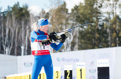 Kaisa MAKARAINEN (FIN) on a firing line at Biathlon Women's 13.5 Royalty Free Stock Images