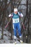 Kaisa Makarainen Finlandia współzawodniczy w biathlon kobiet ` s 15km jednostce przy 2018 zim olimpiadami Zdjęcie Stock