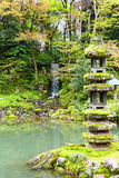Kaiseki Pagoda and Emerald Waterfall inside Kenrokuen Garden Stock Image