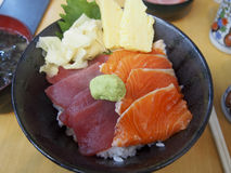 Kaisendon. Is a Japanese dish consisting of raw fish served over a bowl of rice Royalty Free Stock Photography