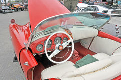 Kaiser Darrin. This is the interior of a 1954 Kaiser Darrin which was named after the vehicle's designer. This car has a fiberglass body and the doors slide into Stock Images
