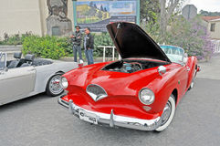 Kaiser Darrin. Manufactured in 1954, this Kaiser Darrin was named after its designer. It has a fiberglass body and the doors slide into the front fenders. It was Royalty Free Stock Image