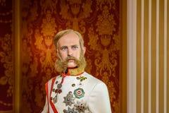 Kaiser Franz Joseph von Osterreich Figurine At Madame Tussauds vaxmuseum Arkivbild