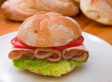 Kaiser roll with turkey breast royalty free stock photos