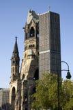Kaiser-Wilhelm-Gedächtniskirche. War memorial, this church was bombed in 1943. Beside it, a new church was built in 1961, Berlin -Charlottenburg Stock Images