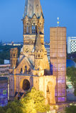 Kaiser Wilhelm Memorial Church at dusk, Berlin, Germany. Elevated view of the Kaiser Wilhelm Memorial Church at dusk, Berlin, Germany Stock Image