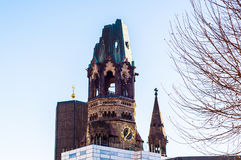 Kaiser wilhem bell tower memorial in berlin in sunny day Stock Photos