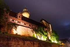Kaiserburg with Sinwellturm, inner yard at night Royalty Free Stock Photos