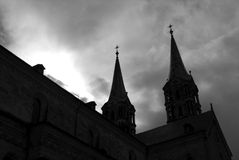 Kaiserdom Silhouette. A black and white photograph pf the Imperial Cathedral in Bamberg shot in Silhouette Stock Photo