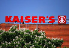 Kaisers. May 2012 - BERLIN: the logo of the supermarket chain Kaisers, Berlin Stock Photography