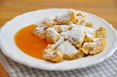 Kaiserschmarrn. Austrian sweet dessert called kaiserschmarrn with apple sauce Royalty Free Stock Photo