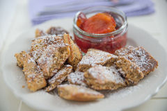 Kaiserschmarrn - German pancakes with plums Royalty Free Stock Photography