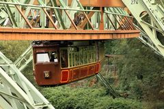 Kaiserwagen the suspension railway in Wuppertal. The famous Kaiserwagen of the suspension railway in Wuppertal, attraction and public transport stock photography