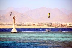 Kaitserfing in de blauwe golven dichtbij het strand Royalty-vrije Stock Afbeeldingen