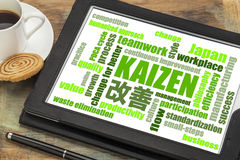 Kaizen concept - continuous improvement word cloud. Kaizen - Japanese continuous improvement concept - word cloud on a digital tablet with a cup of coffee royalty free stock image