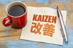Kaizen - continuous improvement concept. Kaizen - Japanese continuous improvement concept - word abstract on a napkin with a cup of coffee royalty free stock photography