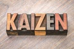 Kaizen -  continuous improvement concept. Kaizen - Japanese continuous improvement concept - word abstract in vintage letterpress wood type Stock Photo
