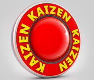 Kaizen sign. 3d kaizen text and red button Stock Photos