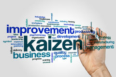 Kaizen word cloud. Concept on grey background stock images
