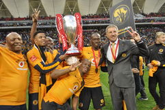 Kaizer chiefs -ABSA Premier Champions -2015. Finally the PSL trophy was handed over to Kaizer Chiefs Stock Photography