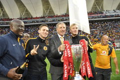 Kaizer chiefs -2015 league champions. Kaizer Chiefs played their last match at Nelson mandela Staduim. Finally the PSL trophy was handed over to Kaizer Chiefs Royalty Free Stock Photo