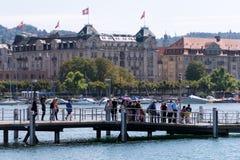 Kaj av Zurich sjön, Schweiz Arkivfoto