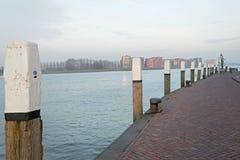 Kaj längs Nieuwen Merwede Fotografering för Bildbyråer