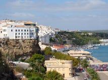 Kaj och hamn i Mahon, Menorca Arkivbild