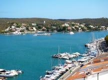 Kaj och hamn i Mahon, Menorca Royaltyfri Bild