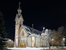 Kajaani Church in winter night, Finland Stock Image