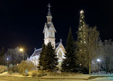 Kajaani Church in winter night, Finland Stock Photos
