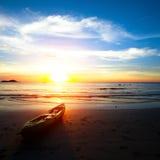 Kajak auf dem Strand Stockfoto