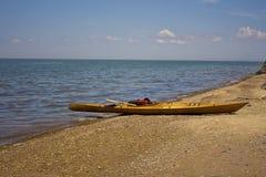Kajak de madera Fotografía de archivo