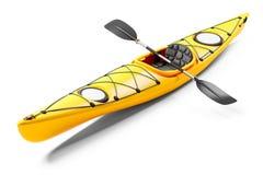 Kajak del mar Giallo e remi 3D immagini stock libere da diritti