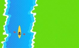 Kajak in dem Fluss Ansicht von oben Vektor-Illustration: Flaches Design