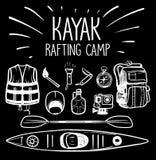 Kajak, der Lager flößt lizenzfreies stockbild