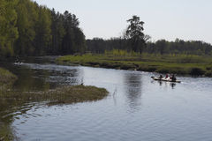 Kajak en el río Foto de archivo libre de regalías