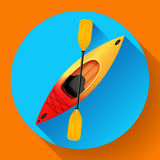 Kajak- och skovelsymbolsvektor utomhus- aktiviteter Gul röd kajak, symbol för havskajaklägenhet stock illustrationer