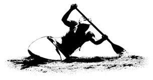 Kajak på en vit bakgrund stock illustrationer