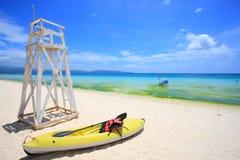Kajak på stranden Fotografering för Bildbyråer