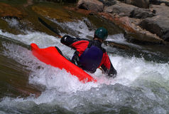Kajak in rapids Fotografia Stock Libera da Diritti