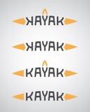 Kajaka logo z łódkowatym kształtem Zdjęcia Stock