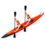 Kajaken sprintar uppsättningen för symbolen för dubblettsommarlekar isometrisk Paddler för kanotist 3D OS:er sprintar det sportsl Arkivfoton